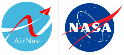 Komparasi logo Airnav Indonesia dan logo Nasa